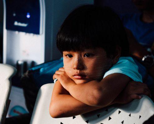 Child looks sad and worried