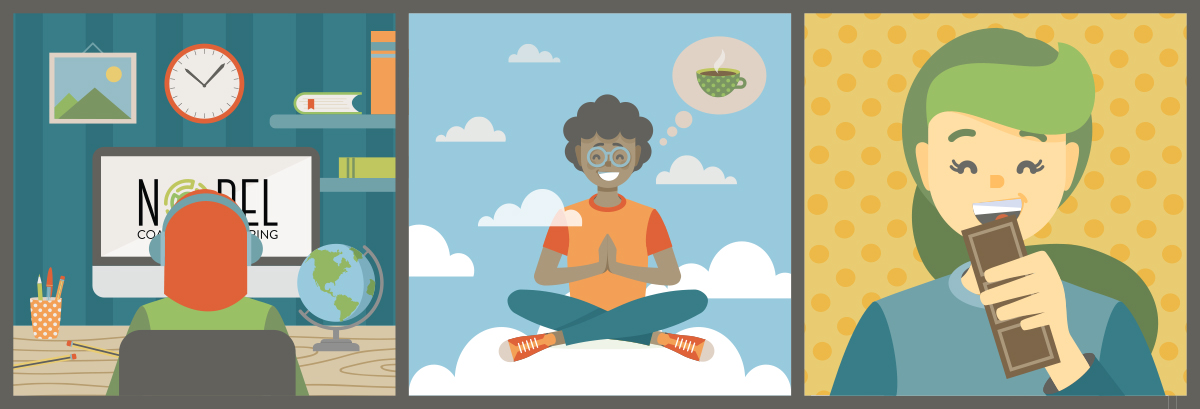 Illustration of three people, one on a computer, one meditating and one enjoying chocolate