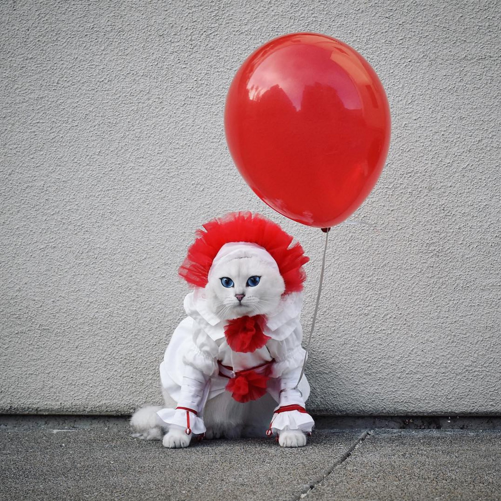 Can dressed as Pennywise with a baloon